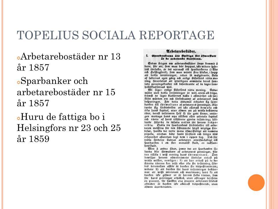 TOPELIUS SOCIALA REPORTAGE Arbetarebostäder nr 13 år 1857 Sparbanker och arbetarebostäder nr 15 år 1857 Huru de fattiga bo i Helsingfors nr 23 och 25