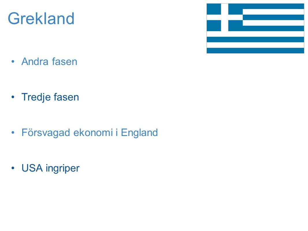 Grekland •Andra fasen •Tredje fasen •Försvagad ekonomi i England •USA ingriper