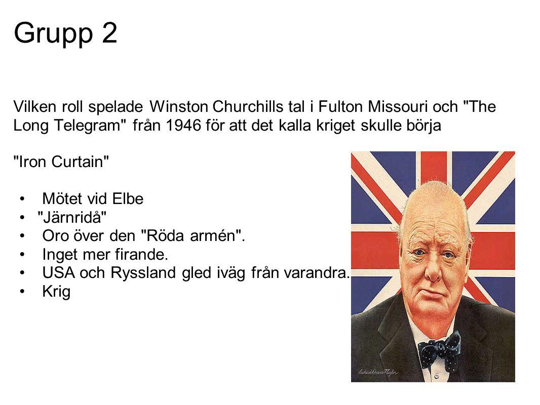 Grupp 2 Vilken roll spelade Winston Churchills tal i Fulton Missouri och