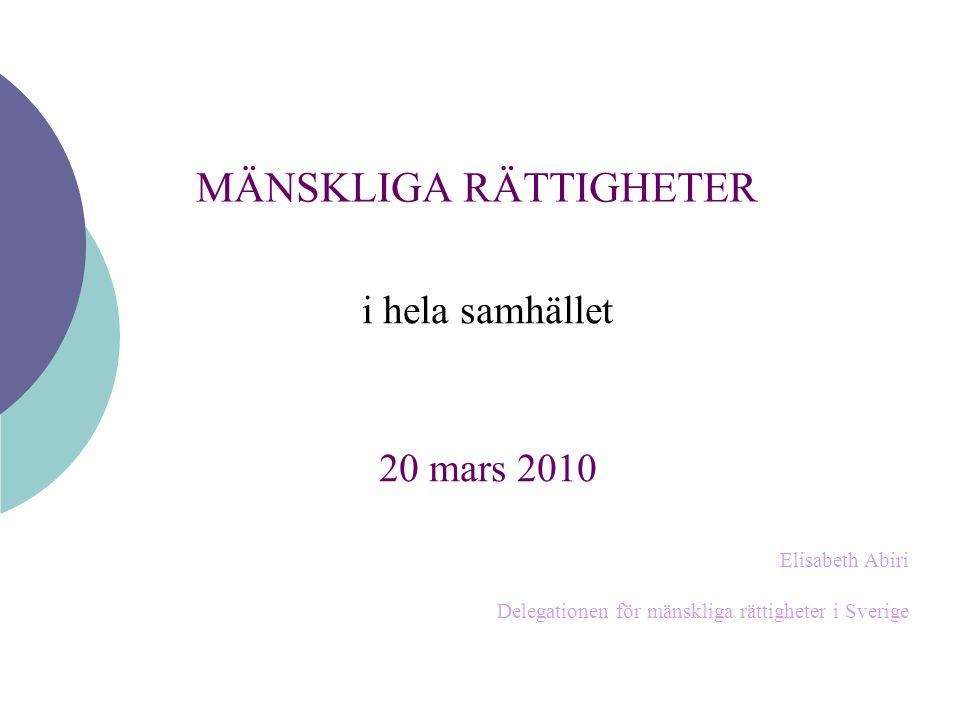 MÄNSKLIGA RÄTTIGHETER i hela samhället 20 mars 2010 Elisabeth Abiri Delegationen för mänskliga rättigheter i Sverige