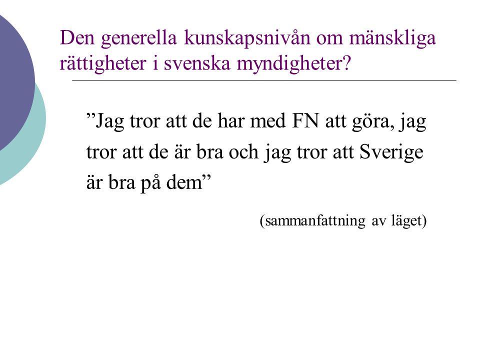 """""""Jag tror att de har med FN att göra, jag tror att de är bra och jag tror att Sverige är bra på dem"""" (sammanfattning av läget) Den generella kunskapsn"""