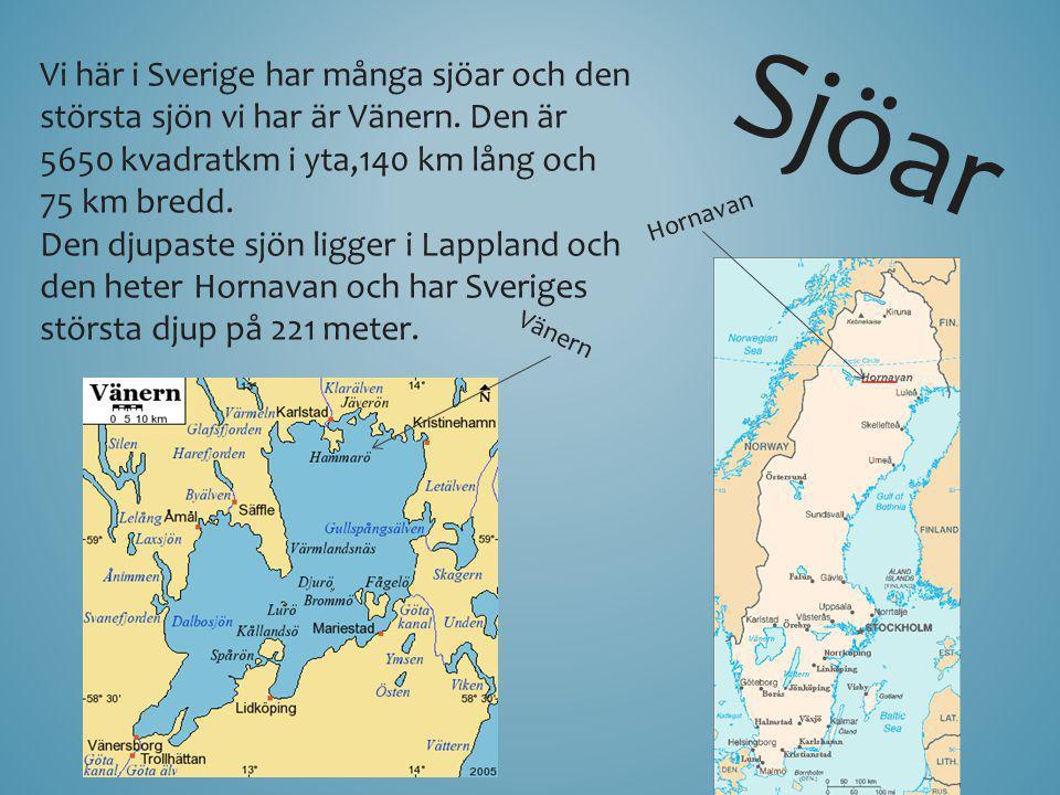Sjöar Vi här i Sverige har många sjöar och den största sjön vi har är Vänern. Den är 5650 kvadratkm i yta,140 km lång och 75 km bredd. Den djupaste sj