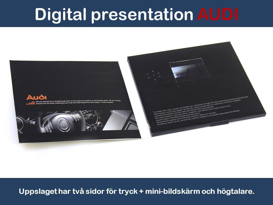 Digital presentation AUDI USB Mini kontakt gör det lätt att byta ut budskapet i videon, stillbilder eller illustrationer.