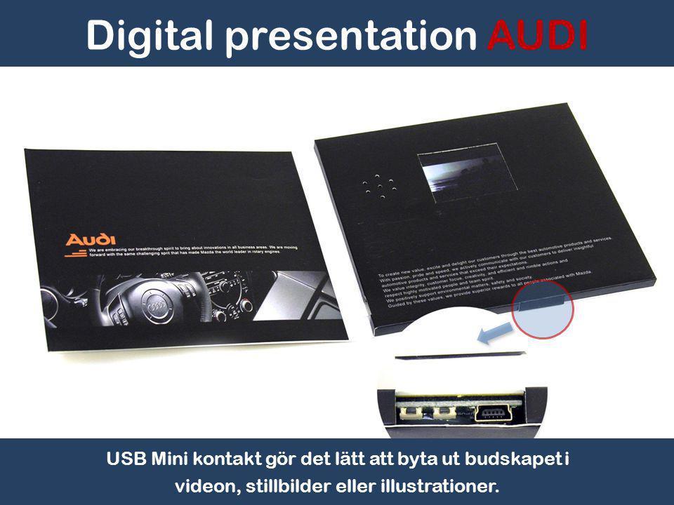 Video/bildspel startar automatiskt när framsidan öppnas. Digital presentation AUDI
