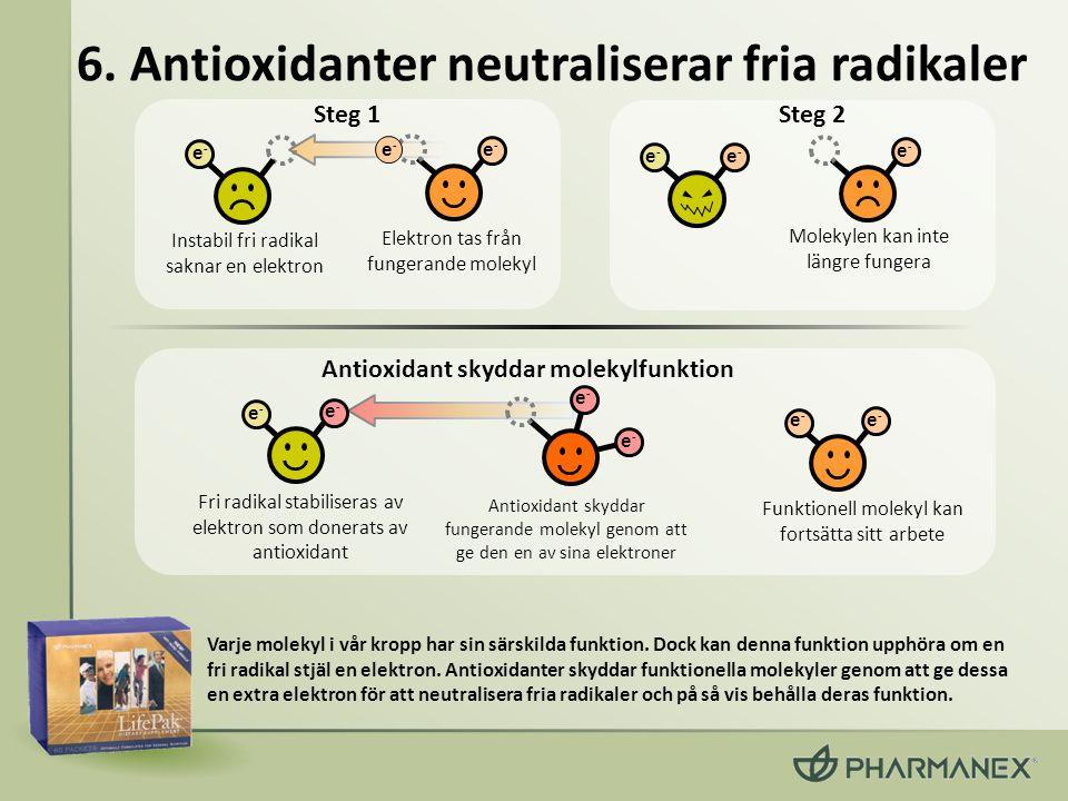 6. Antioxidanter neutraliserar fria radikaler Varje molekyl i vår kropp har sin särskilda funktion. Dock kan denna funktion upphöra om en fri radikal