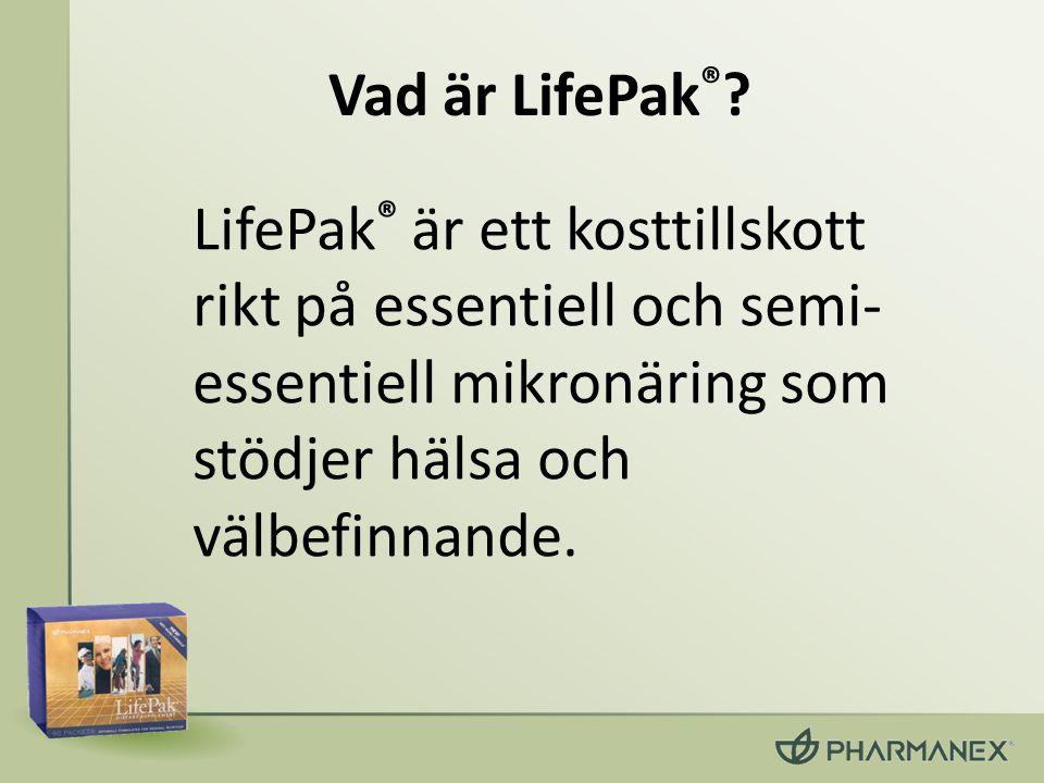 Vad är LifePak ® ? LifePak ® är ett kosttillskott rikt på essentiell och semi- essentiell mikronäring som stödjer hälsa och välbefinnande.