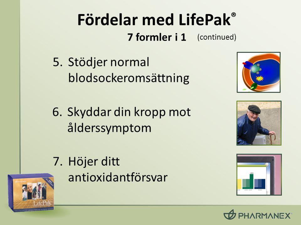 6.Skyddar din kropp mot ålderssymptom 5.Stödjer normal blodsockeromsättning 7.Höjer ditt antioxidantförsvar (continued) Fördelar med LifePak ® 7 forml