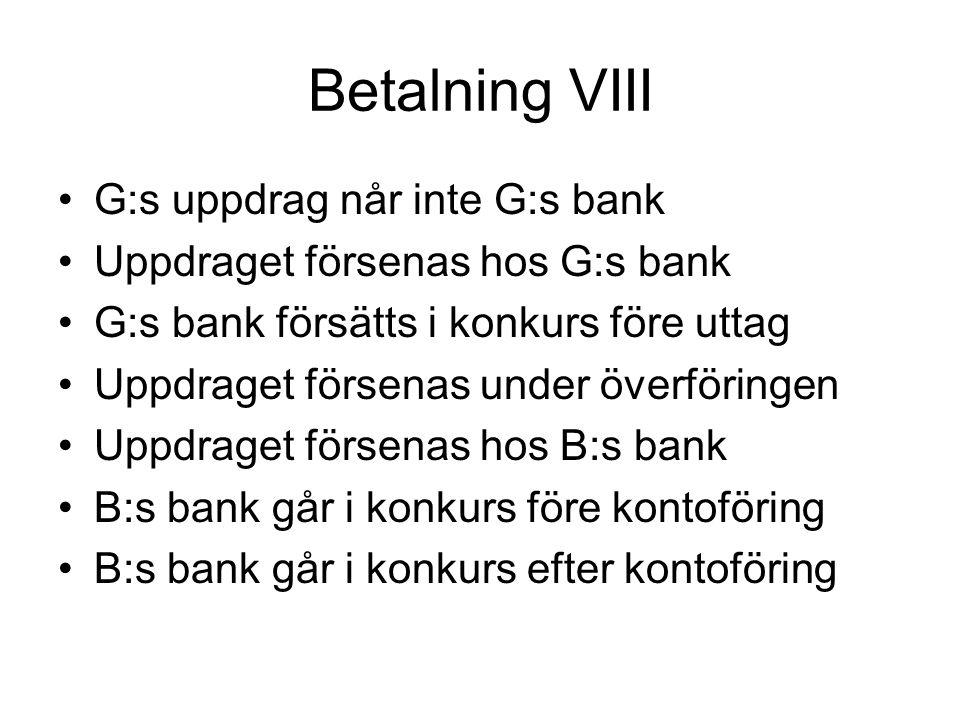 Betalning VIII •G:s uppdrag når inte G:s bank •Uppdraget försenas hos G:s bank •G:s bank försätts i konkurs före uttag •Uppdraget försenas under överföringen •Uppdraget försenas hos B:s bank •B:s bank går i konkurs före kontoföring •B:s bank går i konkurs efter kontoföring