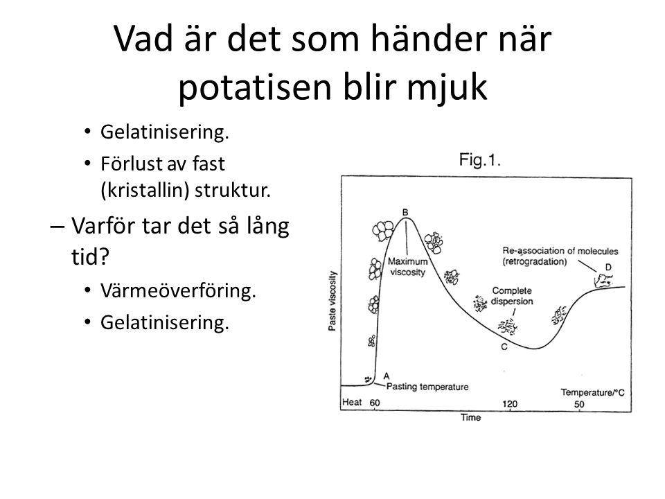 Vad är det som händer när potatisen blir mjuk • Gelatinisering. • Förlust av fast (kristallin) struktur. – Varför tar det så lång tid? • Värmeöverföri