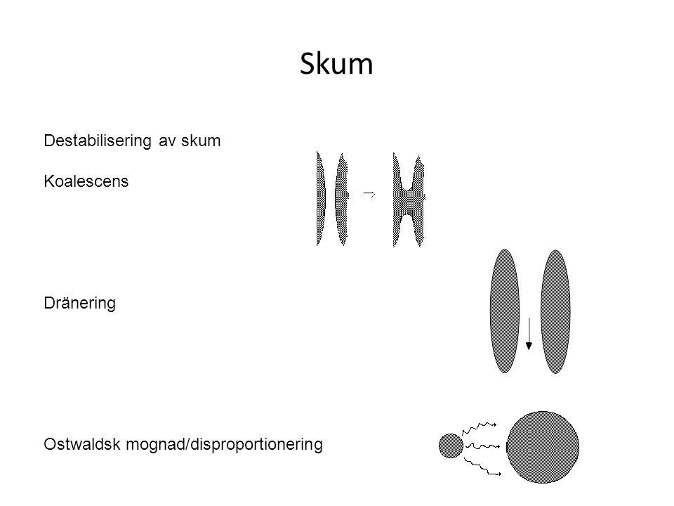 Skum Destabilisering av skum Koalescens Dränering Ostwaldsk mognad/disproportionering