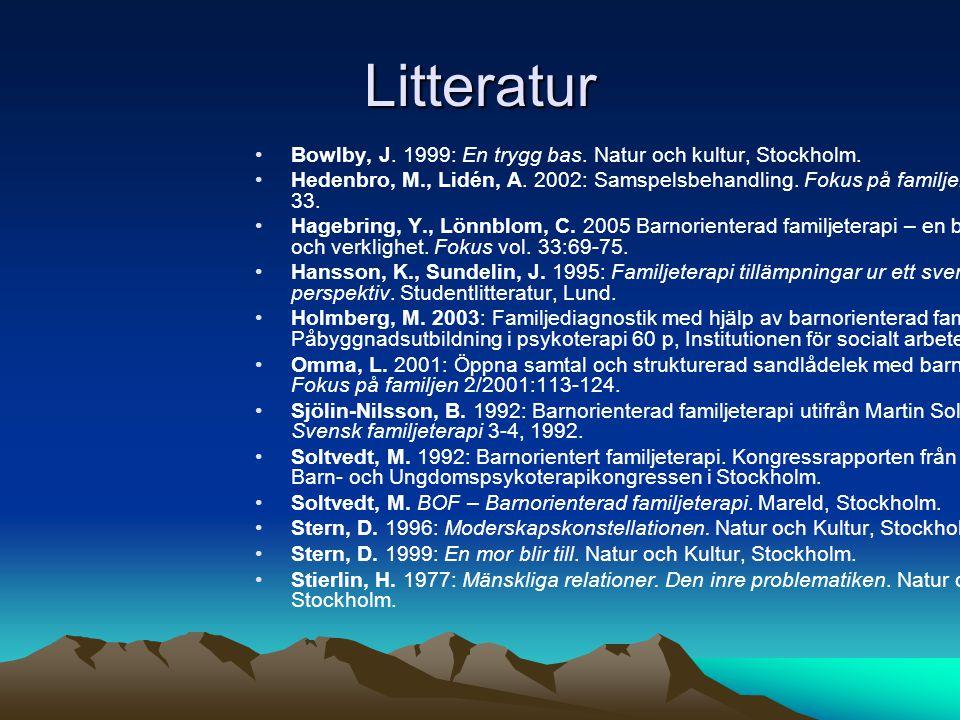 Litteratur •Bowlby, J.1999: En trygg bas. Natur och kultur, Stockholm.