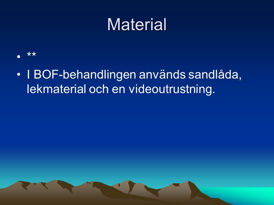 Material •** •I BOF-behandlingen används sandlåda, lekmaterial och en videoutrustning.