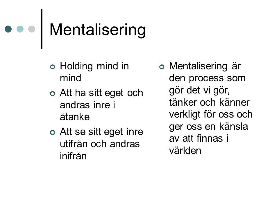 Mentalisering Holding mind in mind Att ha sitt eget och andras inre i åtanke Att se sitt eget inre utifrån och andras inifrån Mentalisering är den pro