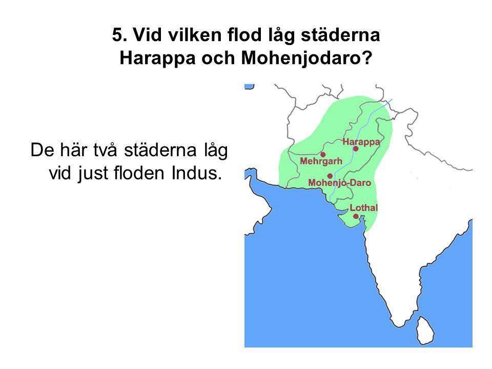 5. Vid vilken flod låg städerna Harappa och Mohenjodaro? De här två städerna låg vid just floden Indus.