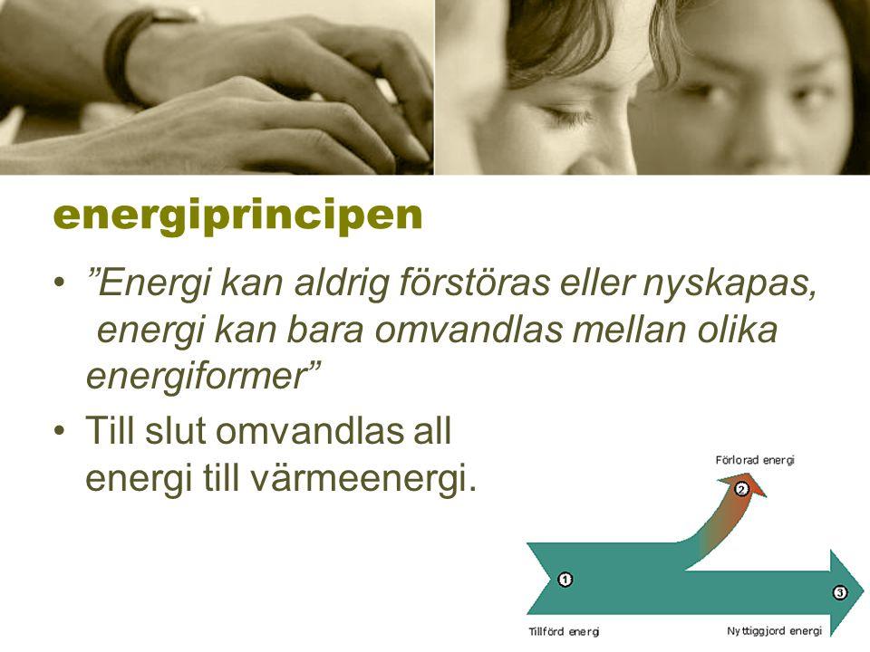 """energiprincipen •""""Energi kan aldrig förstöras eller nyskapas, energi kan bara omvandlas mellan olika energiformer"""" •Till slut omvandlas all energi til"""