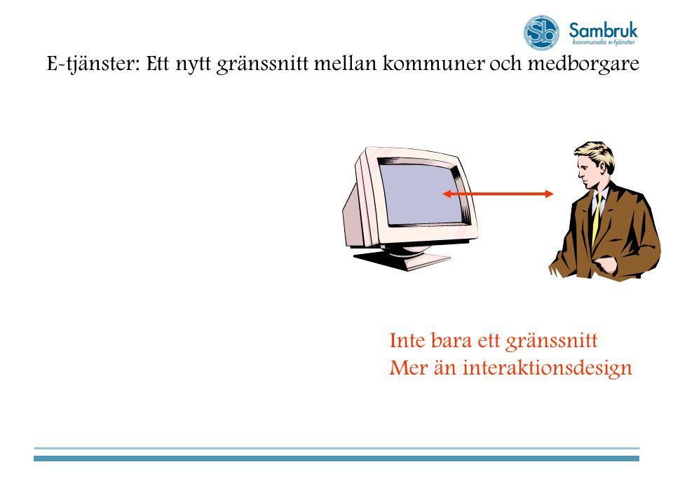 E-tjänster: Ett nytt gränssnitt mellan kommuner och medborgare Inte bara ett gränssnitt Mer än interaktionsdesign