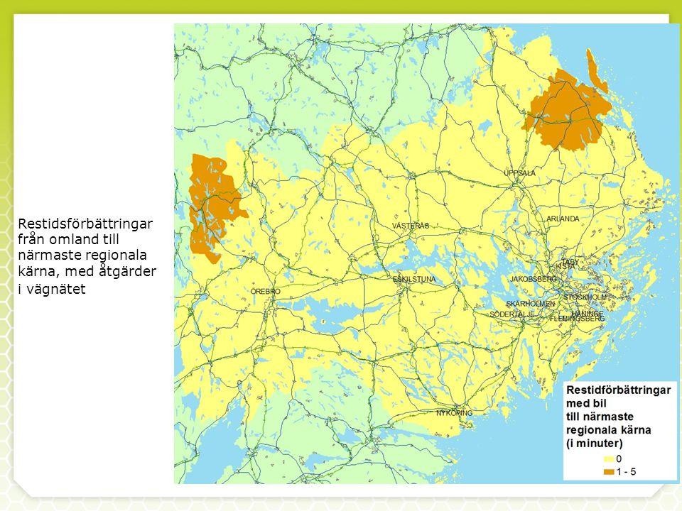 Restidsförbättringar från omland till närmaste regionala kärna, med åtgärder i vägnätet