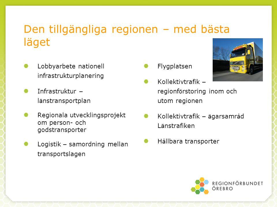 Den tillgängliga regionen – med bästa läget Lobbyarbete nationell infrastrukturplanering Infrastruktur – l ä nstransportplan Regionala utvecklingsprojekt om person- och godstransporter Logistik – samordning mellan transportslagen Flygplatsen Kollektivtrafik – regionf ö rstoring inom och utom regionen Kollektivtrafik – ä garsamr å d L ä nstrafiken H å llbara transporter