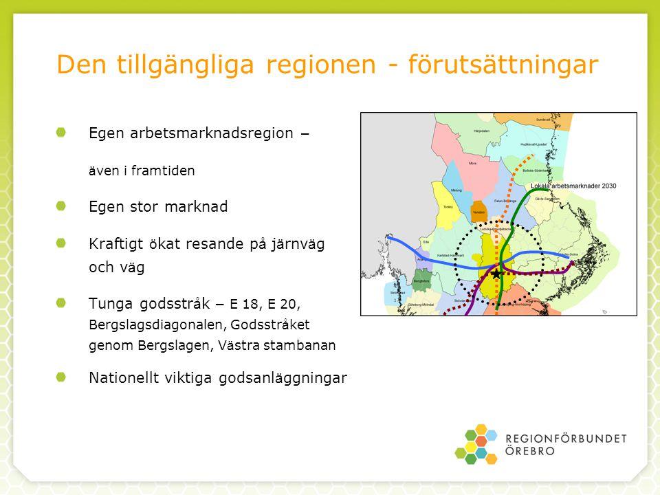 Våra mål En st ö rre Ö rebroregion M å lbild 2015 och 2030 Bra utbyte med grannst ä derna Utveckling av str å k och knutpunkter f ö r gods Starkare str å k Stockholm-Oslo och Stockholm-G ö teborg