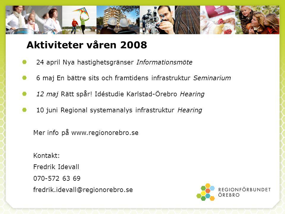 Aktiviteter våren 2008 24 april Nya hastighetsgränser Informationsmöte 6 maj En bättre sits och framtidens infrastruktur Seminarium 12 maj Rätt spår.