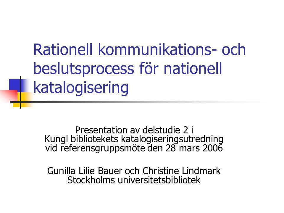 Rationell kommunikations- och beslutsprocess för nationell katalogisering Presentation av delstudie 2 i Kungl bibliotekets katalogiseringsutredning vi