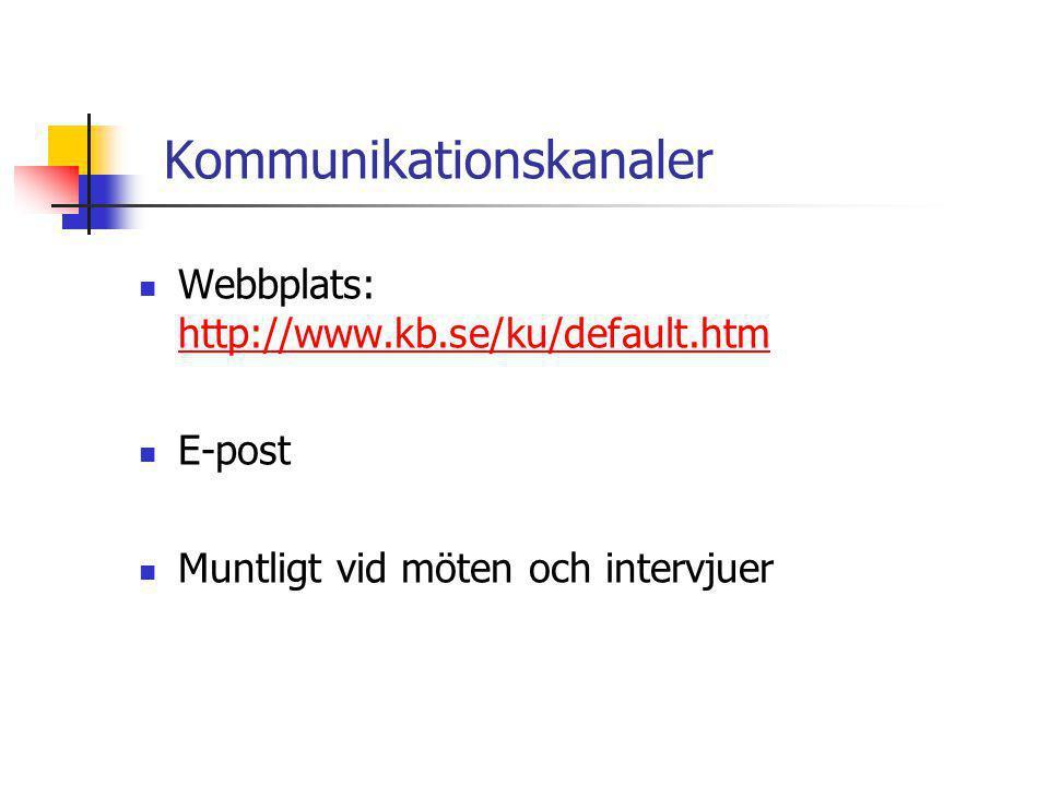 Kommunikationskanaler  Webbplats: http://www.kb.se/ku/default.htm http://www.kb.se/ku/default.htm  E-post  Muntligt vid möten och intervjuer
