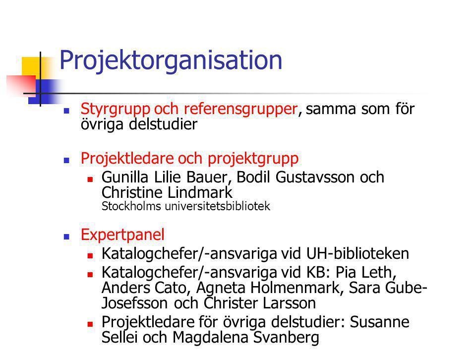 Projektorganisation  Styrgrupp och referensgrupper, samma som för övriga delstudier  Projektledare och projektgrupp  Gunilla Lilie Bauer, Bodil Gus