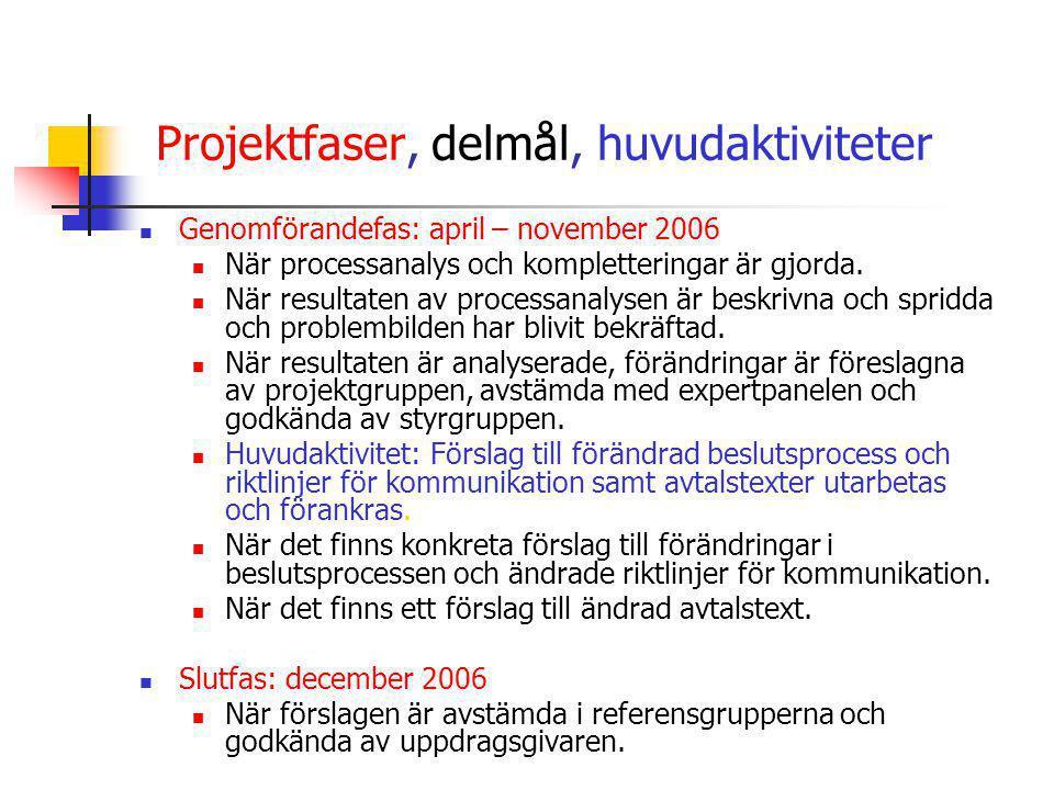 Projektfaser, delmål, huvudaktiviteter  Genomförandefas: april – november 2006  När processanalys och kompletteringar är gjorda.  När resultaten av