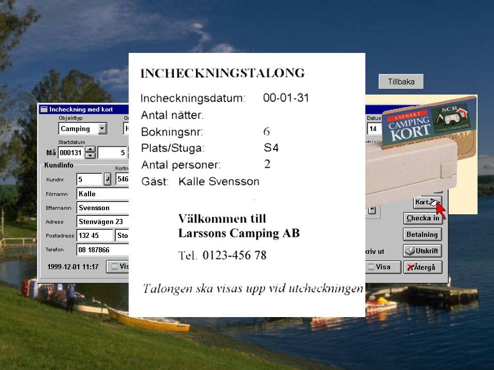 Området visas nu i förstorat format När man klicka på ett objekt tas objektet med till inchecknings- skärmen.