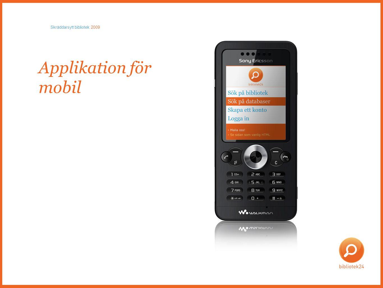 Applikation för mobil Skräddarsytt bibliotek 2009