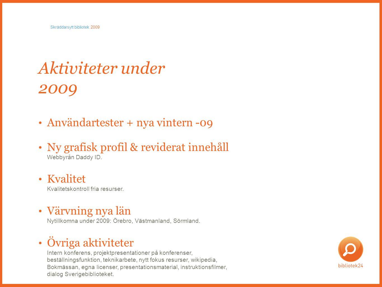 Aktiviteter under 2009 • Användartester + nya vintern -09 • Ny grafisk profil & reviderat innehåll Webbyrån Daddy ID.