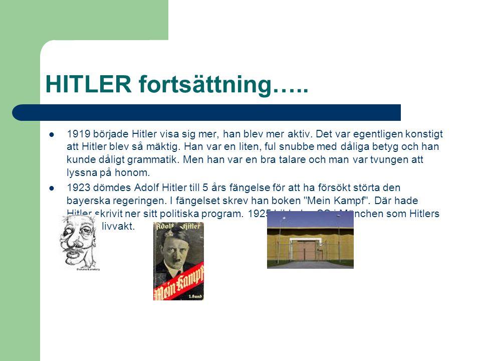 HITLER fortsättning…..  1919 började Hitler visa sig mer, han blev mer aktiv. Det var egentligen konstigt att Hitler blev så mäktig. Han var en liten
