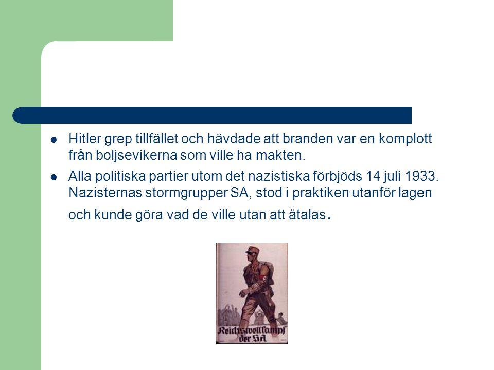 Hitler grep tillfället och hävdade att branden var en komplott från boljsevikerna som ville ha makten.  Alla politiska partier utom det nazistiska