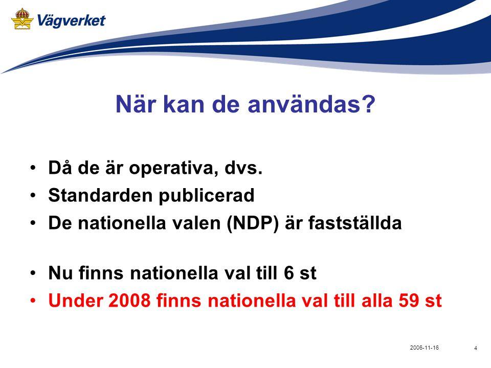 4 2006-11-16 När kan de användas? •Då de är operativa, dvs. •Standarden publicerad •De nationella valen (NDP) är fastställda •Nu finns nationella val