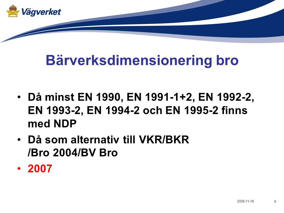 6 2006-11-16 Bärverksdimensionering bro •Då minst EN 1990, EN 1991-1+2, EN 1992-2, EN 1993-2, EN 1994-2 och EN 1995-2 finns med NDP •Då som alternativ till VKR/BKR /Bro 2004/BV Bro •2007