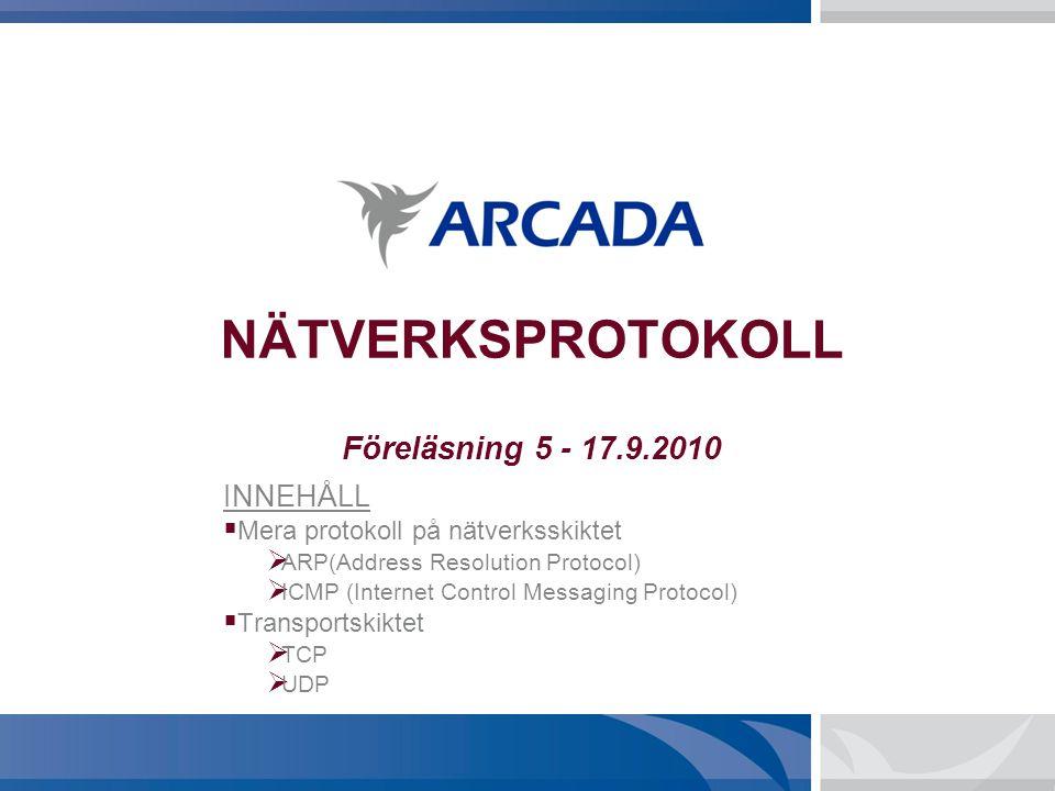 NÄTVERKSPROTOKOLL Föreläsning 5 - 17.9.2010 INNEHÅLL  Mera protokoll på nätverksskiktet  ARP(Address Resolution Protocol)  ICMP (Internet Control M