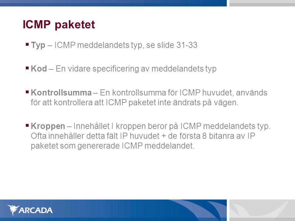 ICMP paketet  Typ – ICMP meddelandets typ, se slide 31-33  Kod – En vidare specificering av meddelandets typ  Kontrollsumma – En kontrollsumma för