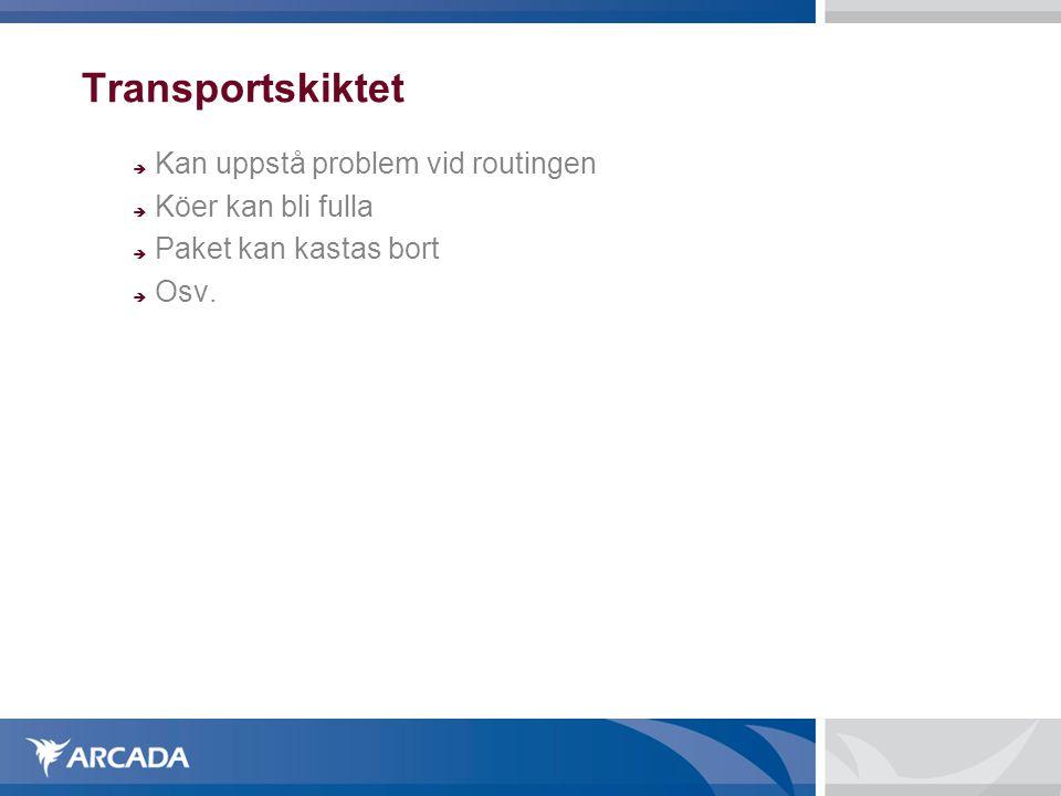 Transportskiktet  Kan uppstå problem vid routingen  Köer kan bli fulla  Paket kan kastas bort  Osv.