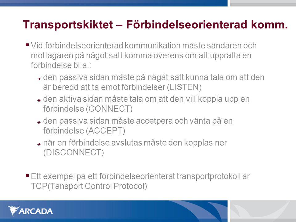 Transportskiktet – Förbindelseorienterad komm.  Vid förbindelseorienterad kommunikation måste sändaren och mottagaren på något sätt komma överens om