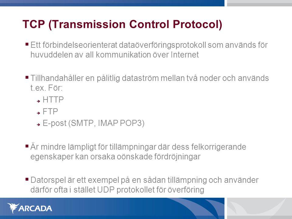 TCP (Transmission Control Protocol)  Ett förbindelseorienterat dataöverföringsprotokoll som används för huvuddelen av all kommunikation över Interne