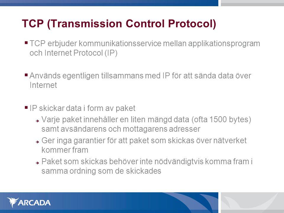 TCP (Transmission Control Protocol)  TCP erbjuder kommunikationsservice mellan applikationsprogram och Internet Protocol (IP)  Används egentligen