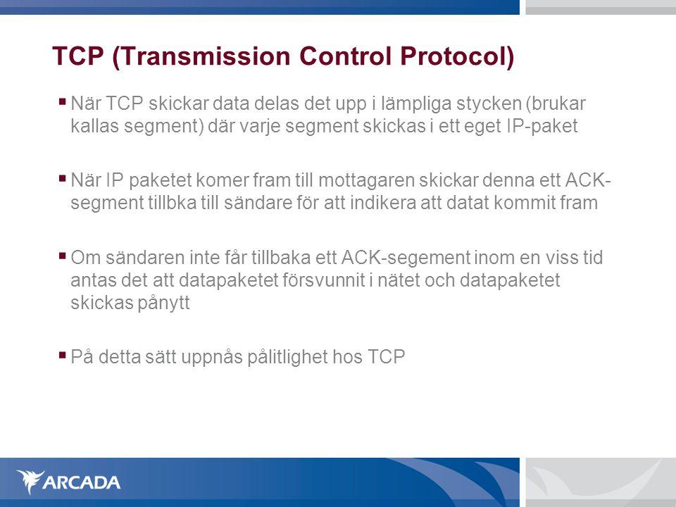 TCP (Transmission Control Protocol)  När TCP skickar data delas det upp i lämpliga stycken (brukar kallas segment) där varje segment skickas i ett e