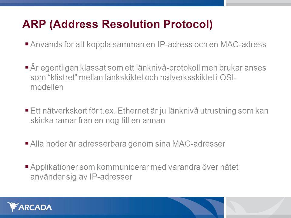 ARP (Address Resolution Protocol)  Används för att koppla samman en IP-adress och en MAC-adress  Är egentligen klassat som ett länknivå-protokoll m