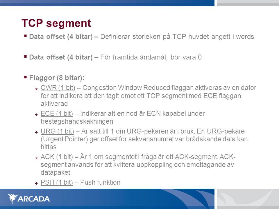 TCP segment  Data offset (4 bitar) – Definierar storleken på TCP huvdet angett i words  Data offset (4 bitar) – För framtida ändamål, bör vara 0  F