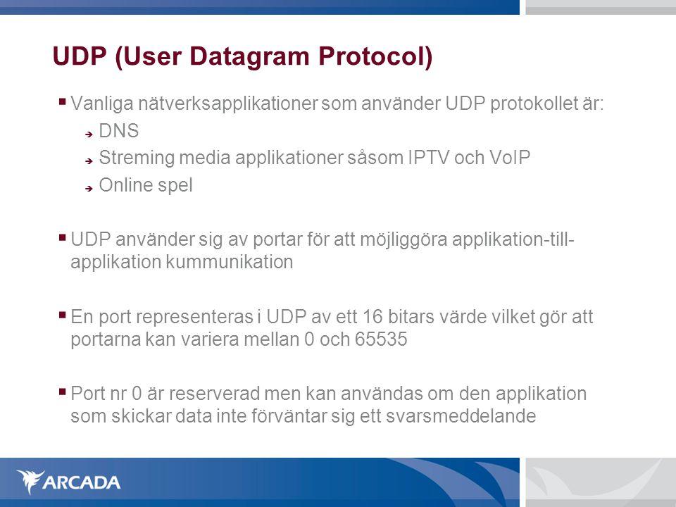 UDP (User Datagram Protocol)  Vanliga nätverksapplikationer som använder UDP protokollet är:  DNS  Streming media applikationer såsom IPTV och VoI