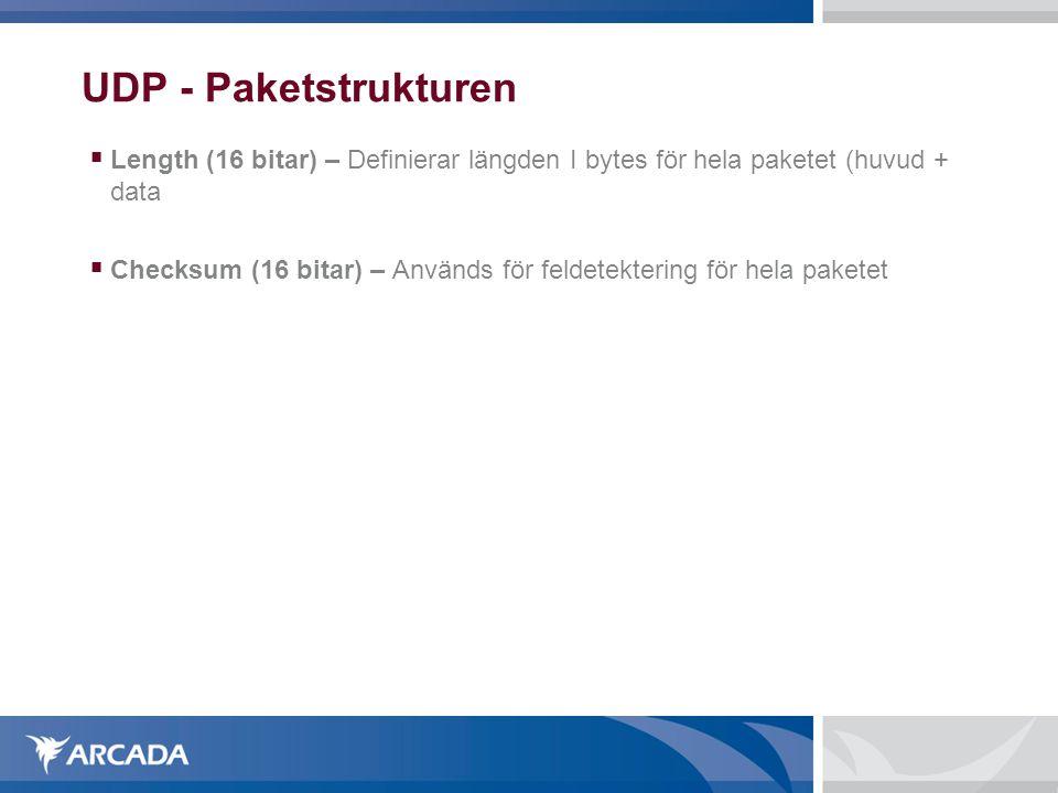 UDP - Paketstrukturen  Length (16 bitar) – Definierar längden I bytes för hela paketet (huvud + data  Checksum (16 bitar) – Används för feldetekteri