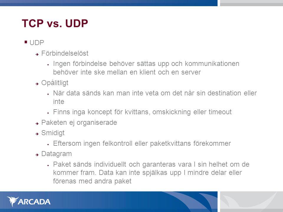 TCP vs. UDP  UDP  Förbindelselöst  Ingen förbindelse behöver sättas upp och kommunikationen behöver inte ske mellan en klient och en server  Opåli