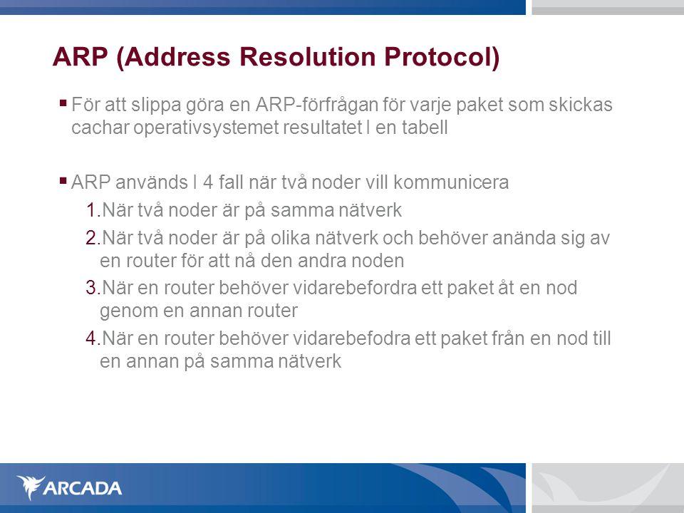 ARP (Address Resolution Protocol)  För att slippa göra en ARP-förfrågan för varje paket som skickas cachar operativsystemet resultatet I en tabell 