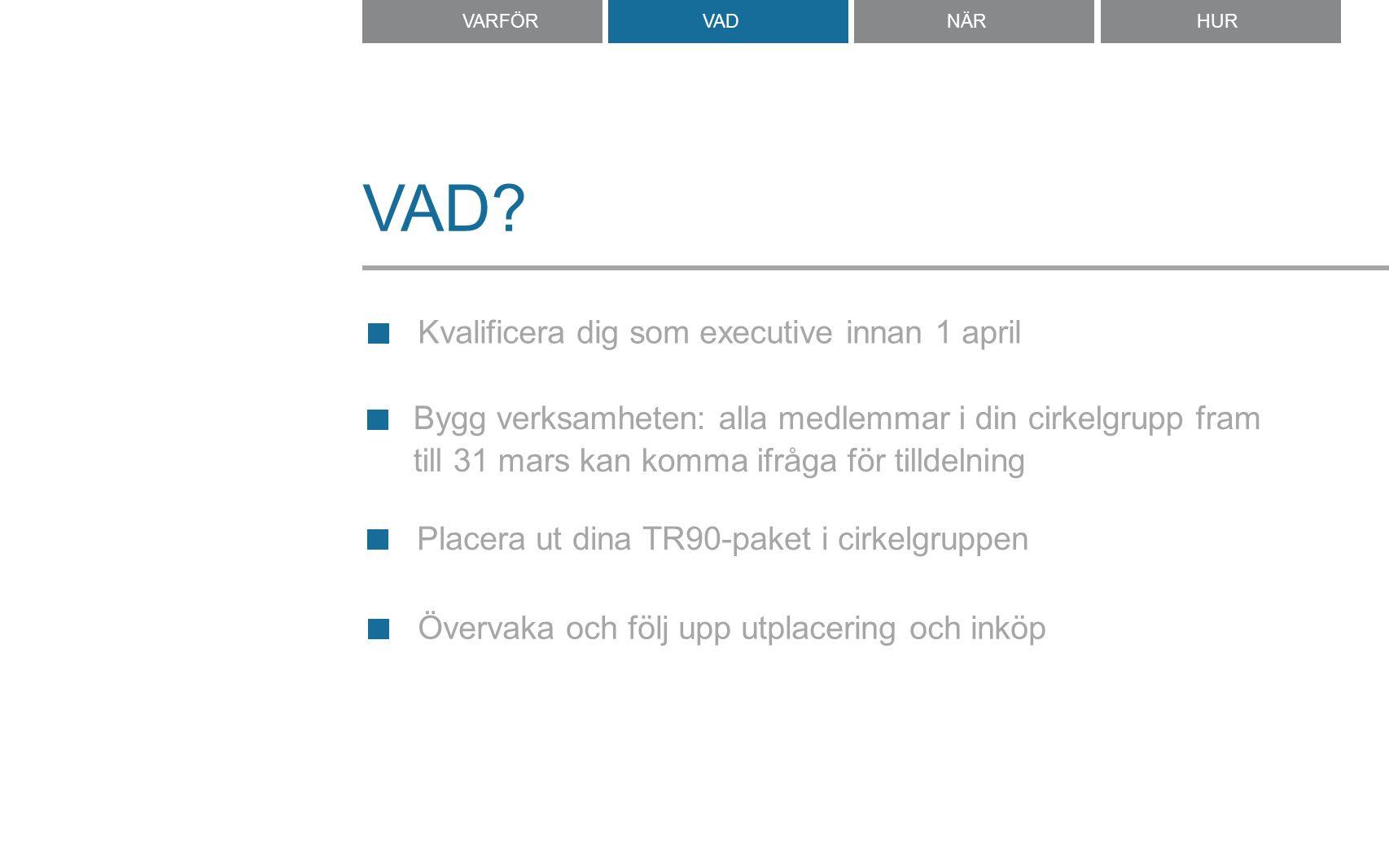 VAD? Kvalificera dig som executive innan 1 april Placera ut dina TR90-paket i cirkelgruppen VARFÖRVADNÄRNÄRHUR Bygg verksamheten: alla medlemmar i din