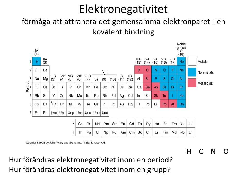 Elektronegativitet förmåga att attrahera det gemensamma elektronparet i en kovalent bindning Hur förändras elektronegativitet inom en period? Hur förä